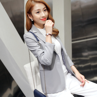CALAN DIANA Women's Korean-style Slim Fit Short Sleeve Suit Blazer (Gray R8048)