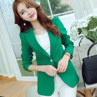 CALAN DIANA Women's Korean-style Slim Fit Short Sleeve Suit Blazer (Green R8048)