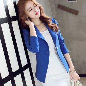 CALAN DIANA Women's Korean-style Slim Fit Short Sleeve Suit Blazer (Sapphire blue color R8098)