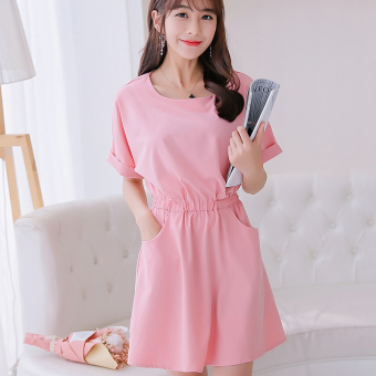 CALAN DIANA Women's Korean-style Solid Color Mid-length Sleeve Underskirt Dress (Pink)