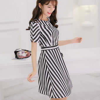 CALAN DIANA Women's Korean-style Stripe Short Sleeve Underskirt Dress