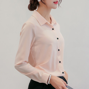 CALAN DIANA Women's Slim Fit Chiffon Long Sleeve Shirt Color Varies (Pink)