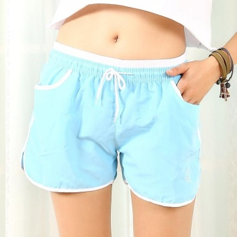 Candy color Women Sport Gym shorts Quick dry Casual loose Hotshorts Yoga running fintness shorts Sky blue - intl