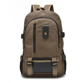 Canvas Backpack Men Rucksack Bookbag for School Travel hiking and camping bag Brown