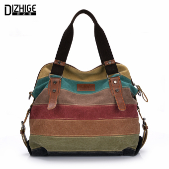 Canvas Bag Tote Striped Women Handbags Patchwork Women Shoulder Bag New Fashion bag (Intl)