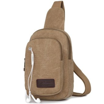 Canvas Mens Satchel Shoulder Bag Chest Pack Crossbody Sports Bag Khaki - intl