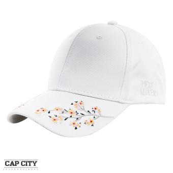 Cap City Baseball Caps with Plum Blossom Embroidery Flower Design (White)