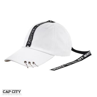 Cap City Korean Long Tail Off White with 3 Ring Pierce Design Baseball Cap(White)