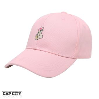 Cap City Korean Style Heart Finger Gesture Embroidery Baseball Cap (Pink)