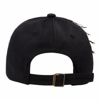 Cap City Korean Style with 5 Pins and 2 Ring Pierce Design Baseball Cap (Black) - 4