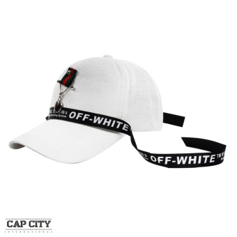 Cap City Korean Style with General Badge Pendant and Off White Lace Design Baseball Cap (White)