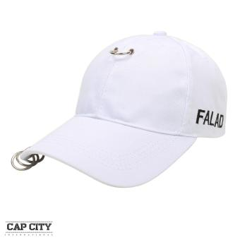 Cap City Korean Style with Hoop and 3 Ring Pierce Design Baseball Cap (White)