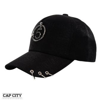 Cap City Korean Style with Metal 5 Star Pendant and 3 Ring Pierce Design Baseball Cap (Black)