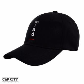 Cap City MIND Letter Embroidered Korean Baseball Cap (Black)