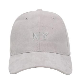 Cap City NY Adjustable Suede Cap Pastel Color Street Casual Baseball Cap (Grey)