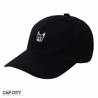 Cap City Plain Adjustable Fashion French Bulldog Embroidery Baseball Cap (Black)
