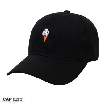 Cap City Plain Adjustable Fashion Ice Cream Embroidery Baseball Cap(Black)