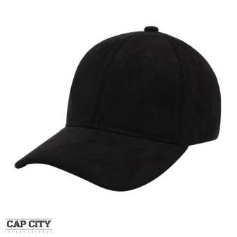 Cap City Plain Adjustable Suede Cap Pastel Color Street Casual Baseball Cap (Black)