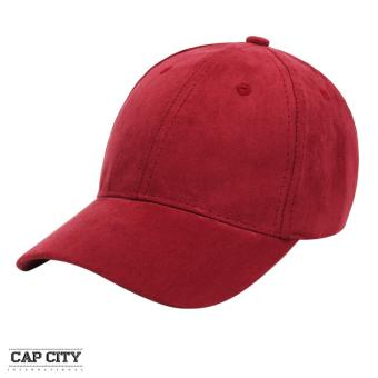 Cap City Plain Adjustable Suede Cap Pastel Color Street Casual Baseball Cap (Maroon)