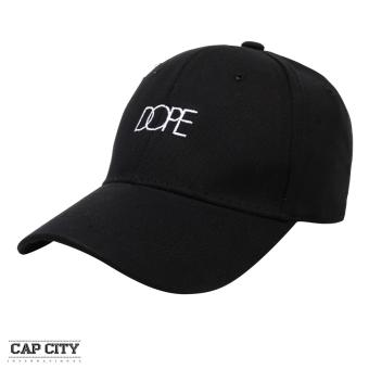 Cap City Plain Fashion Dope Text Embroidery Casual Baseball Cap (Black)