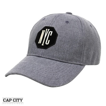 Cap City Plain Letter NYC Octagon Patch Baseball Cap (Grey)