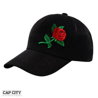 Cap City Plain Rose Flower Satin Baseball Cap (Black)