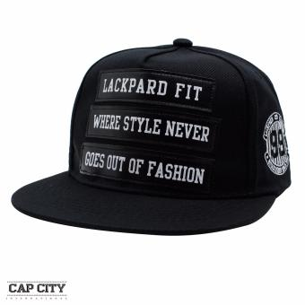Cap City Unisex Denim Hip Hop Lackpard Fit Letters Snapback (Black)