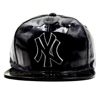 Cap City Unisex Hip-hop Snapback NY Leather Glossy Baseball Cap(Black)