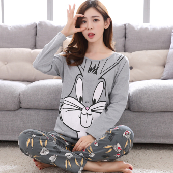 Cartoon female Spring and Autumn long-sleeved cotton tracksuit pajamas (Long-sleeved 3723 big face rabbit)