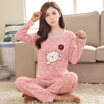 Cartoon female Spring and Autumn long-sleeved cotton tracksuit pajamas (Long-sleeved dotted cat)