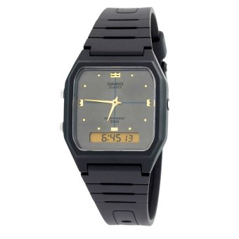 Casio Analog-Digital Combination Men's Black Resin Strap WatchAW-48HE-8A