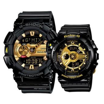 Casio G-Shock and Baby-G Couple Black Resin Strap Watch GBA-400-1A9 and BA-110-1A