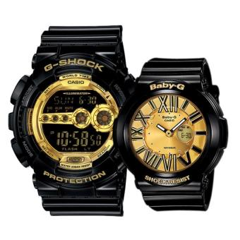 Casio G-Shock and Baby-G Couple Black Resin Strap Watch GD-100GB-1 & BGA-160-1B