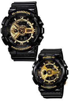 Casio G-Shock and Baby-G Couple Black Resin Strap Watches GA-110GB-1A & BA-110-1A