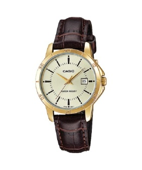 Casio Women's Brown Leather Band Watch LTP-V004GL-9A