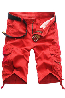 Casual Army Cargo Shorts Sports Pants (Red) - picture 2