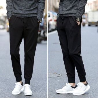 Casual black men's Slim fit long pants skinny denim pants (Leather cord casual pants)