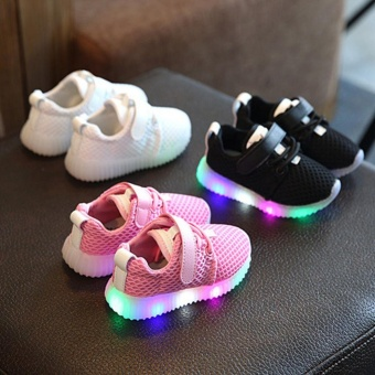 Casual Children Boys Girls kids LED Light Running Sneakers Flash Baby Shoes Toddler (pink) - intl
