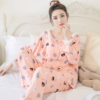 Casual cotton silk female summer tracksuit pajamas (Long-sleeved Foundation Bear)