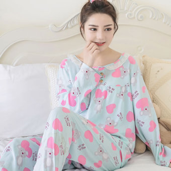 Casual cotton silk female summer tracksuit pajamas (Long-sleeved lovely Xiong Lan)