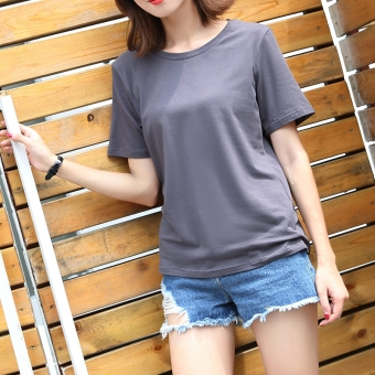 Casual cotton solid color Plus-sized T-shirt white shirt bottoming (Round Neck gray)