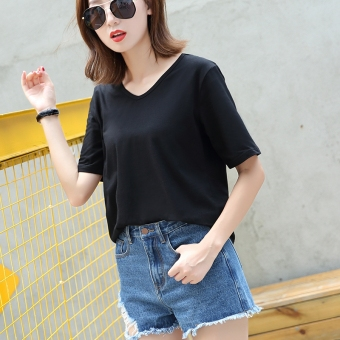 Casual cotton solid color Plus-sized T-shirt white shirt bottoming (V-neck black (for the first time wash water off cotton))