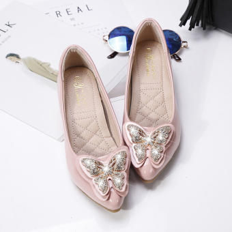 Casual diamond pointed increased female shoes wedding shoes (Beige)