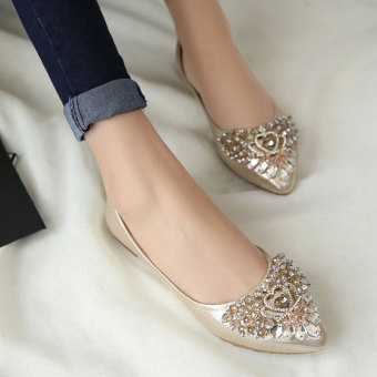 Casual diamond pointed increased within shoes wedding shoes (Corolla gold)