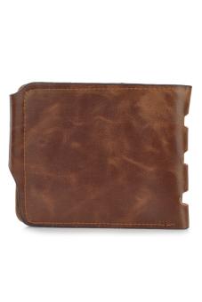 Casual Folding Split Leather Wallet for Men Coffee - 2