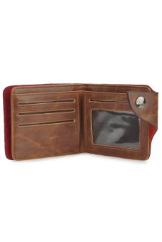 Casual Folding Split Leather Wallet for Men Coffee - 4