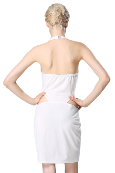 Casual Halter Sleeveless Mini Dress (White) - picture 2