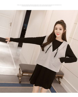 Casual hooded mid-length Slim fit nursing dress nursing clothes (Black dress + gray vest)