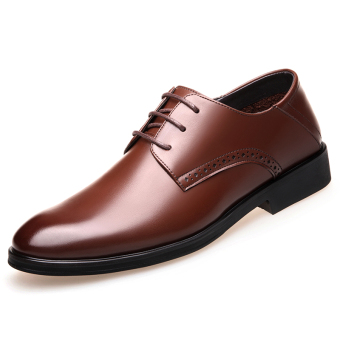 Casual Leather black men's shoes men's leather shoes (Brown)