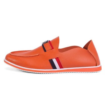 Casual Leather Driving Loafers (Orange)
